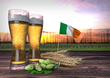 declining: beer consumption in Ireland. 3D render