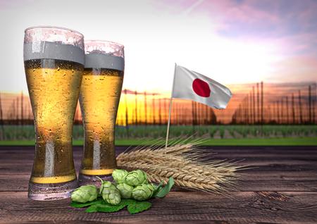 beer consumption in Japan. 3D render