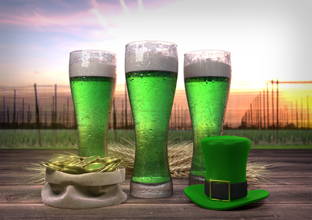 celtic background: St Patricks Day concept, green beer, hat, treasure. 3D render