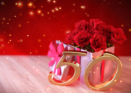 birthday concept with red roses in gift on wooden desk. fiftieth birthday. 50th. 3D render Stock Photo