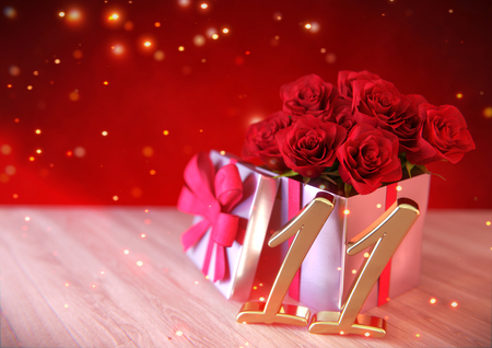 eleventh birthday: birthday concept with red roses in gift on wooden desk. eleventh. 11th. 3D render