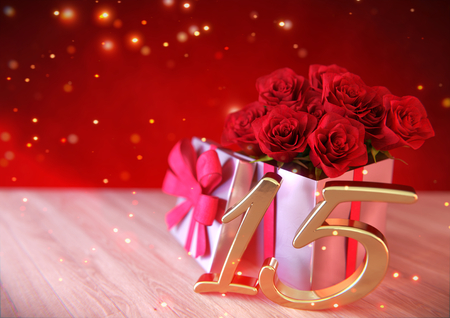 fifteen: birthday concept with red roses in gift on wooden desk. fifteenth. 15th. 3D render
