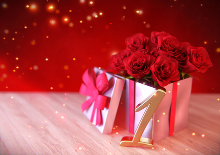 birthday concept with red roses in gift on wooden desk. first .1st. 3D render Stock Photo