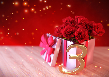 third birthday: birthday concept with red roses in gift on wooden desk. third. 3rd. 3D render
