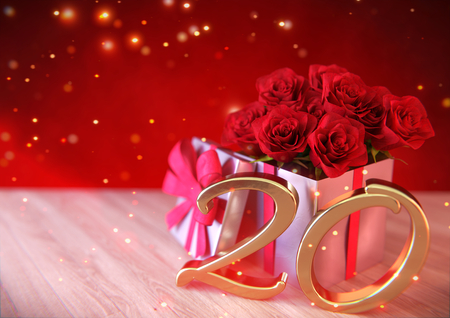 birthday concept with red roses in the gift on wooden desk. twentieth. 20th. 3D render Stock Photo