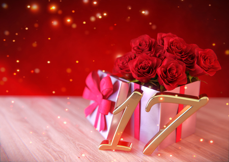 17th: birthday concept with red roses in gift on wooden desk. 17th. 3D render Stock Photo