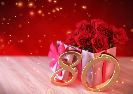 80th: birthday concept with red roses in gift on wooden desk. 3D render - eightieth birthday. 80th