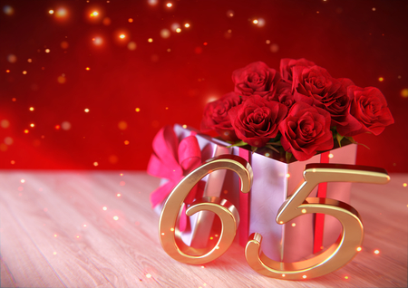 birthday concept with red roses in gift on wooden desk. 3D render - sixtyfifth birthday. 65th Stock Photo