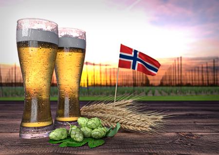 beer consumption in Norway. 3D render Stock Photo