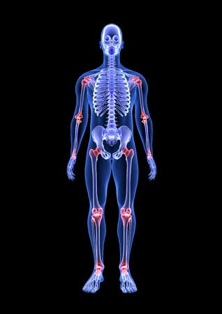 Joint Pain theme. Blue Human Anatomy Body and Skeleton. 3D Scan render on black background Stock Photo