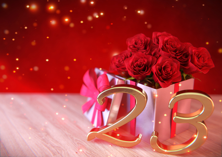 third birthday: birthday concept with red roses in the gift on wooden desk. twenty-third. 23rd. 3D render