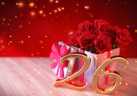birthday concept with red roses in the gift on wooden desk. twenty-sixth. 26th. 3D render