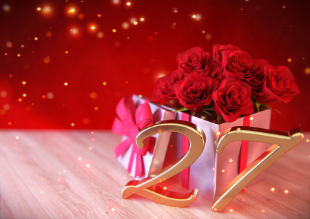 birthday concept with red roses in the gift on wooden desk. twenty-seventh. 27th. 3D render Stock Photo