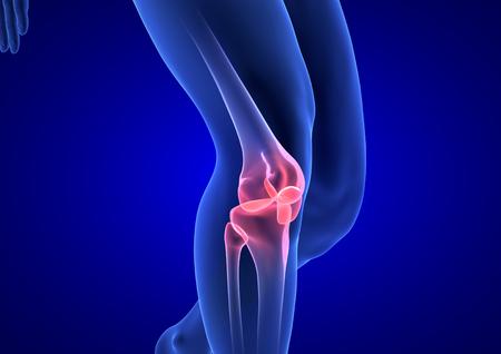 Knee Pain. Blue Human Anatomy Body 3D render on blue background Standard-Bild