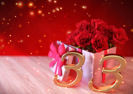 third birthday: birthday concept with red roses in the gift on wooden desk. thirty-third. 33rd. 3D render