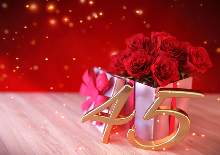 45th: birthday concept with red roses in the gift on wooden desk. fortyfifth. 45th. 3D render Stock Photo