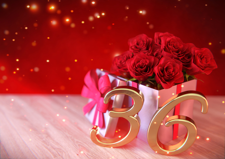birthday concept with red roses in gift on wooden desk. thirty-sixth. 36th. 3D render Stock Photo