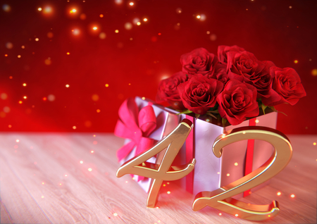 birthday concept with red roses in the gift on wooden desk.forty-second. 42nd. 3D render Stock Photo