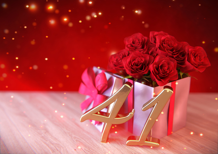 birthday concept with red roses in the gift on wooden desk. forty-first . 41st. 3D render Stock Photo