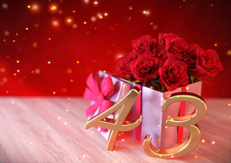 third birthday: birthday concept with red roses in the gift on wooden desk.3D render - forty-third birthday. 43rd