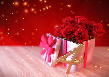 birthday concept with red roses in gift on wooden desk. fourth. 4th. 3D render Stock Photo