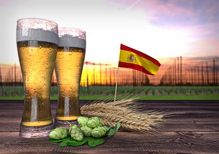 declining: beer consumption in Spain. 3D render