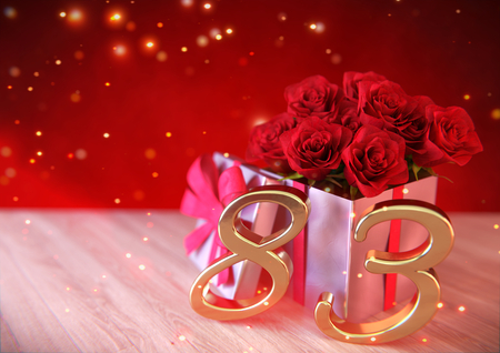 third birthday: Birthday concept with red roses in gift on wooden desk. 3D render - eighty-third birthday. 83rd