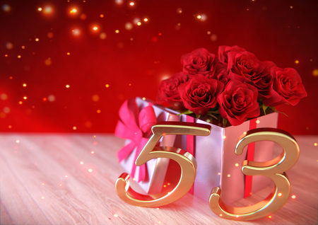 third birthday: birthday concept with red roses in gift on wooden desk. fifty-third . 53rd. 3D render