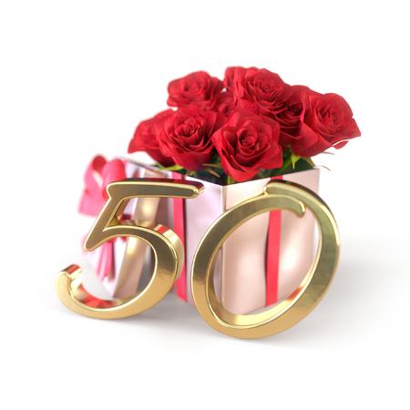 Geburtstagskonzept mit roten Rosen in Geschenk isoliert auf weißem Hintergrund. fünfzigste. 50. 3D übertragen Standard-Bild
