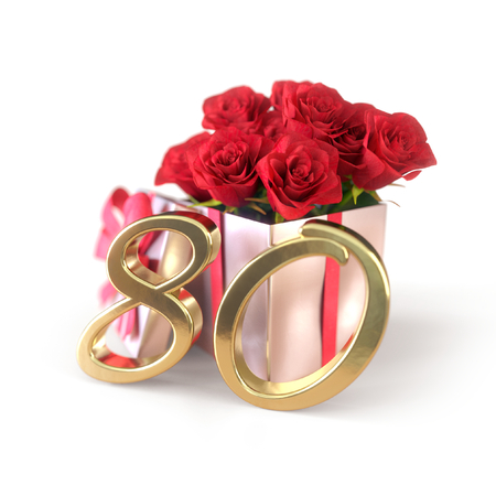 verjaardagsconcept met rode rozen in cadeau geïsoleerd op een witte achtergrond. tachtigste. 80ste. 3D render Stockfoto