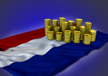Netherlandish economy concept with national flag and golden coins Stock Photo