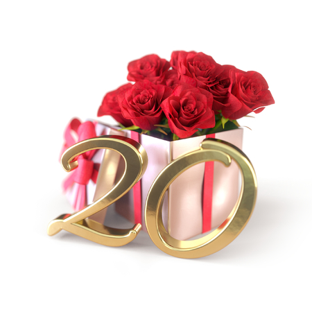 birthday concept with red roses in gift isolated on white background. 3D render - twentieth birthday. 20th