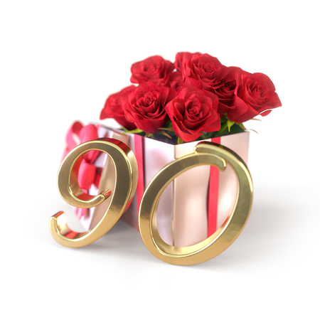 birthday concept with red roses in gift isolated on white background. ninetieth. 80th. 3D render Stock Photo