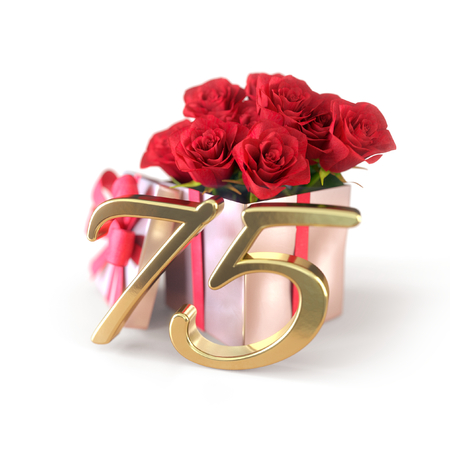 birthday concept with red roses in gift isolated on white background. 3D render - seventyfifth birthday. 75th Stock Photo
