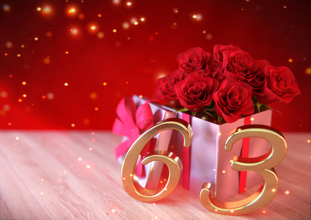 third birthday: birthday concept with red roses in gift on wooden desk. sixty-third. 63rd. 3D render