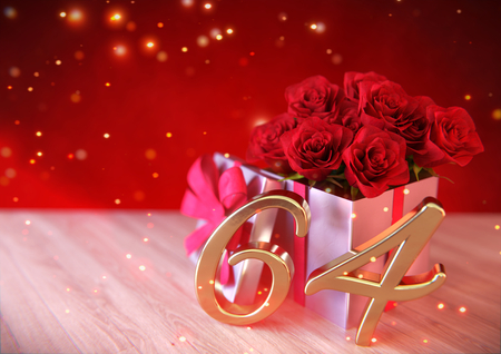 birthday concept with red roses in gift on wooden desk. sixty-fourth . 64th. 3D render Stock Photo