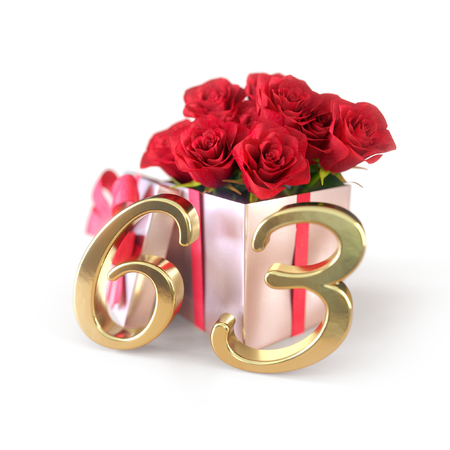 third birthday: birthday concept with red roses in gift isolated on white background. sixty-third. 63rd. 3D render