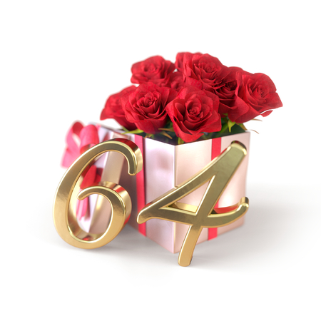 birthday concept with red roses in gift isolated on white background. sixty-fourth. 64th.3D render
