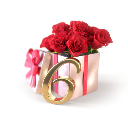 birthday concept with red roses in gift isolated on white background. sixth. 6th. 3D render