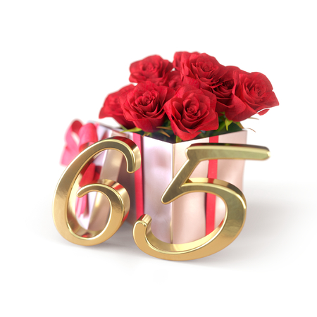 birthday concept with red roses in gift isolated on white background. sixtyfifth. 65th. 3D render