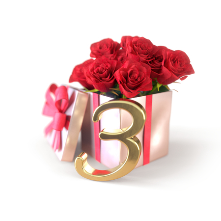 third birthday: birthday concept with red roses in gift isolated on white background. third. 3rd. 3D render