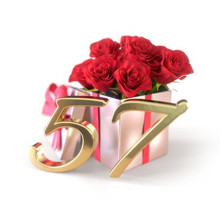 흰색 배경에 고립 선물에 빨간 장미와 생일 개념. 57 번째. 57 번째. 3D 렌더링 스톡 콘텐츠