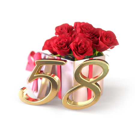 birthday concept with red roses in gift isolated on white background. fifty-eighth. 58th. 3D render