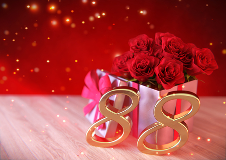 birthday concept with red roses in gift on wooden desk. eighty-eighth. 88th. 3D render Stock Photo