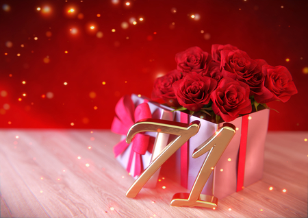 seventy: birthday concept with red roses in gift on wooden desk. seventy-first. 71st. 3D render