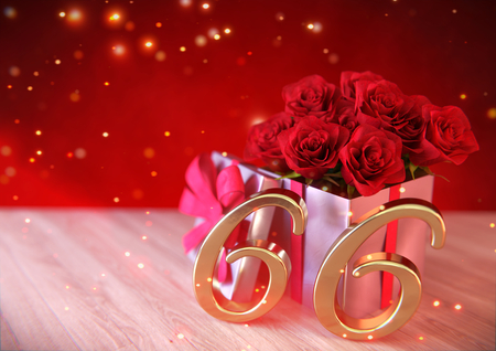 birthday concept with red roses in gift on wooden desk. sixty-sixth. 66th. 3D render