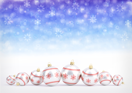 red christmas balls on bokeh background with snowflakes. 3D illustration