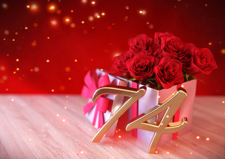 seventy: birthday concept with red roses in gift on wooden desk. seventy-fourth. 74th. 3D render Stock Photo