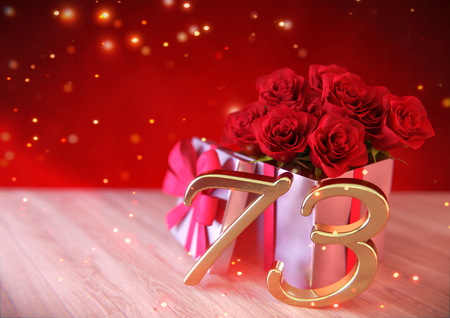 birthday concept with red roses in gift on wooden desk. seventy-third. 73rd. 3D render Stock Photo