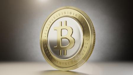 단일 bitcoin 동전을 닫습니다. 3D 렌더링